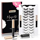 Magnetic Eyelashes Kit with Eyeliners - SEANME 10 Pairs Reusable Eyelashes Sets for Natural, Daily Style, Wedding Use, Waterproof Premium Eyelashes Last for Whole Day, Comfortable Feeling with No Glue