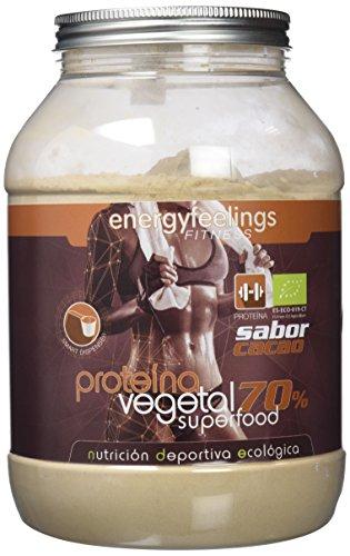 Energy Feelings | Proteína Vegana Ecológica Sabor Chocolate | 70% Proteína de Arroz, Guisante y Calabaza | Sin Gluten | Sin Lactosa | Proteína en Polvo con Cacao | 1,5 kg