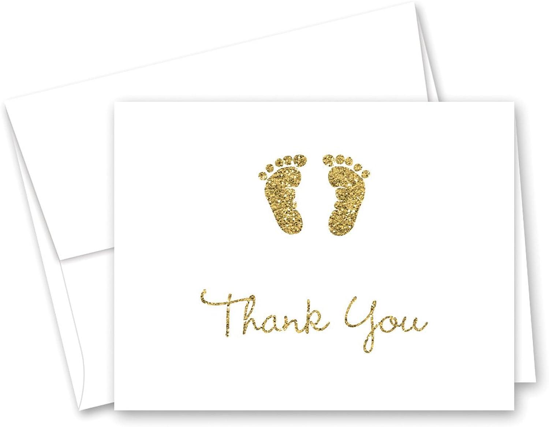 oferta especial MyExpression  50 Cnt Cnt Cnt oro Baby Feet Footprint Baby Shower Thank You Cocheds  el estilo clásico