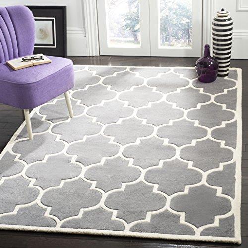 Safavieh Chatham Collection CHT733D Handmade Dark Grey and Ivory Premium Wool Area Rug (8' x 10')