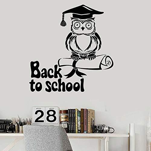 Volver a la escuela tatuajes de pared búho sombrero de soltero conocimiento vinilo adhesivo mural para el aula de la escuela sala de estudio papel tapiz de arte