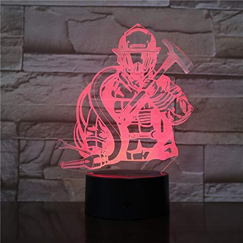 BFMBCHDJ Feuerwehrmann 3D LED Modellierung USB Nachtlichter Kreative Feuerwehr Tischlampe Wohnkultur 7 Farben Ändern Schlaf Beleuchtung Geschenke