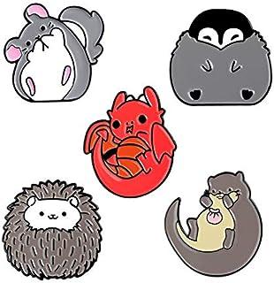Lindo esmalte Pin Chinchilla Hedgehog Nutria Pingüino Dragón Insignia Broche Pin de solapa Camisa Bolsa Regalo para niños-Set