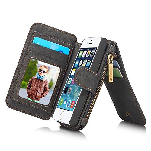 ANNNWZZD iPhone5/iPhone5S/SE ケース 4インチ用 多機能 ビンテージレザー 財布型ポーチ カードスロット14...
