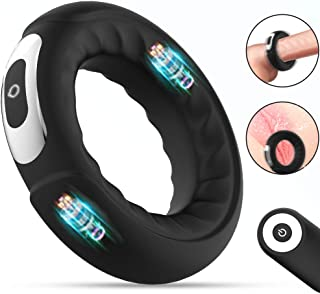 Dual Motors Vibrating Penis Cock Ring for Clitoral...