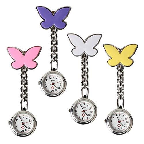 GTUQ Reloj de bolsillo con broche de mariposa para enfermera, reloj de bolsillo con clip y cadena de cuarzo, para decoración de bolsillo (color: rosa)