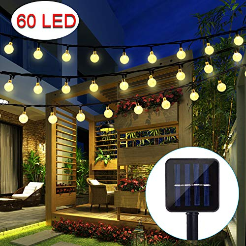 BAOANT Solar Lichterkette Garten Globe Außen mit LED Kugel 10m 60er LED 8 Modi Außenlichterkette Wasserdicht Beleuchtung für Weihnachten, warmweiß