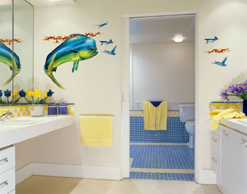 Wall Decals – Mahi Mahi, (a.k.a. Dolphin or Dorado) and Flying Fish, Bold Wall Art– Rht-Facing, Lrg