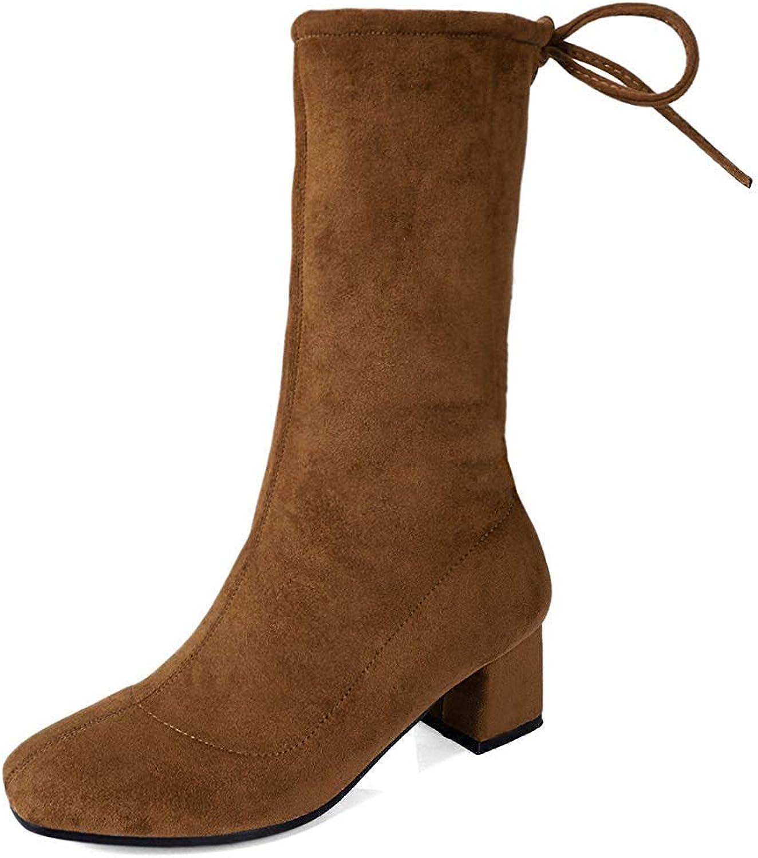 Ghapwe Women's Square Toe Medium Block Heels Drawstring Lace-up Mid Calf Boots Brown 8 M US