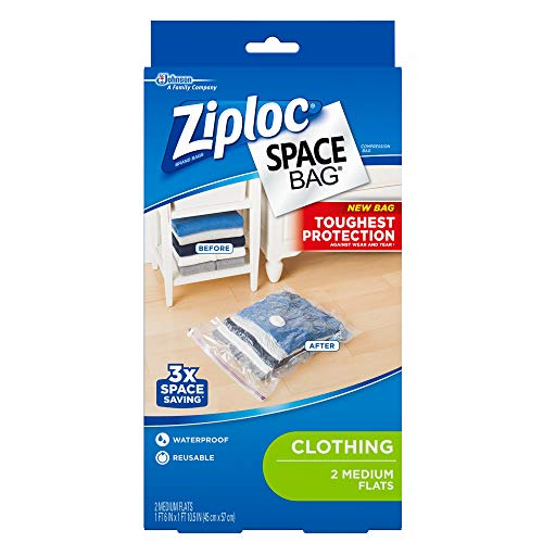 Ziploc Space Bag Clothes Vacuum Sealer Storage Bags for Home and Closet Organization, Protects from Moisture, Dust and Pests, Pack of 2 (M)