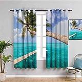 Nileco Cortinas Opacas Termicas - Mar palmeras puente de madera cielo - 280x245 cm - Cortinas del Dormitorio de la Habitación de los Niños - 3D Impresión Digital con Ojales Aislamiento Térmico