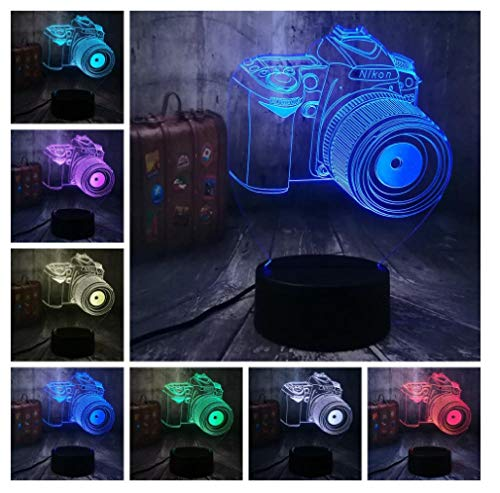Video Camera Night Light for Kid 3D Optical Illusion Light LED Bedside Lamp Toy Light 7 Colors Changing with Smart Touch Best Gifts and Birthday Gifts for Boys Girl Kid Baby