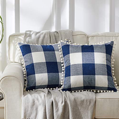 Pack of 2 Decorative Linen Throw Pillow Covers, Retro Farmhouse Buffalo Check Plaid Square Pillows, Pillow Cases with Pom-poms Cushion Case for Couch, Sofa, Bed, Car, 18 x 18 Inch Navy and White