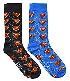 Hyp Superman Argyle Men's Crew Socks 2 Pair Pack Shoe Size 6-12