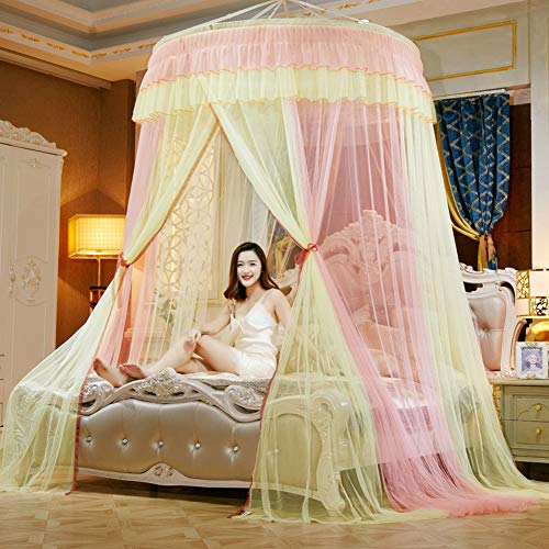 TYMX Multicolor Dome Suspended Ceiling Mosquito Protection Net Bed Canopy Bedroom Room Lace Mosquito Net (Yellow Jade)