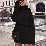 Suéter De Mujer,Tejido De Punto,Otoño Invierno Cuello Alto Con Hombros Descubiertos Suéter De Punto Vestido Mujer Moda Sólido Sexy Delgado Tallas Grandes Jerseys Largos Jersey De Punto, Negro,