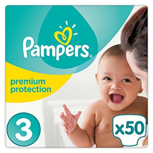 Pampers Premium Protection Windeln, Größe 3 Midi (6-10 kg), 1er Pack (1 x 50 Stück)