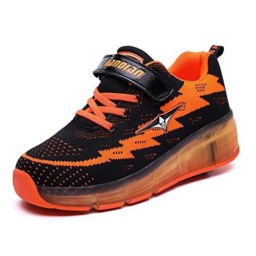 Axcer LED Blinkend Schuhe Mit Rollen Automatisch Räder Rochen Skateboardschuhe Sport Outdoor Fitnessschuhe USB Aufladen 7 Farbwechsel Rädern Gymnastik Laufschuhe Sneakers für Jungen Mädchen