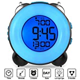 Banne Loud Alarm Clock Optional Alarm Dual Alarm Setting Snooze Function Night Light Bedside Battery...