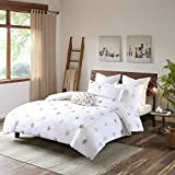 INK+IVY Stella Dot King/Cal King Size Bed Comforter Set - White Gold, Embroidered – 3 Pieces Bedding Sets – Cotton Bedroom Comforters