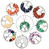 8 Pieces Life Tree Pendant Charms Gemstone Chakra Crystal Quartz Pendants Chakra Healing Charm for Necklace Earrings Bracelets Jewelry Making, Assorted Colors (Silver Chain Style)