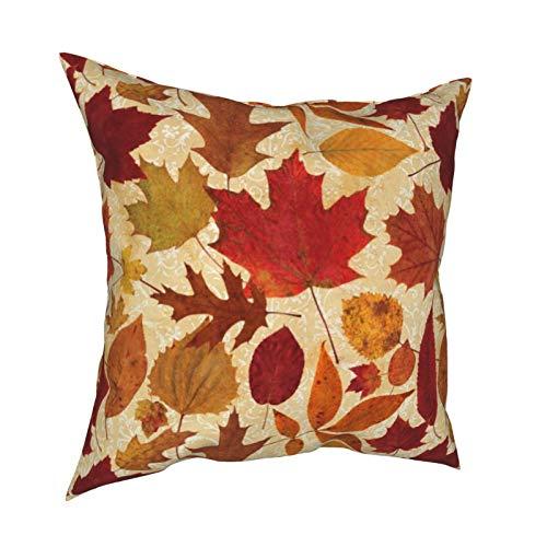 Funda de cojín de damasco con diseño de hojas otoñales en color beige para decoración diaria con cremallera, funda de almohada lumbar para regalo en casa, sofá, cama, coche, 45,72 x 45,72 cm