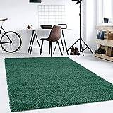 Hochflor Teppich   Shaggy Teppich fürs Wohnzimmer Modern & Flauschig   Läufer für Schlafzimmer, Esszimmer, Flur und Kinderzimmer   Langflor Carpet grün 120x170 cm