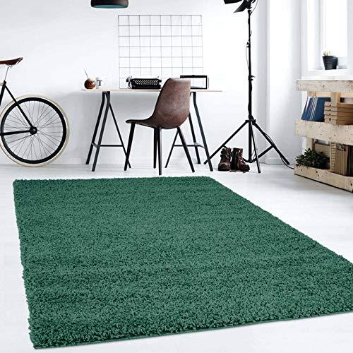 Hochflor Teppich | Shaggy Teppich fürs Wohnzimmer Modern & Flauschig | Läufer für Schlafzimmer, Esszimmer, Flur und Kinderzimmer | Langflor Carpet grün 080x150 cm