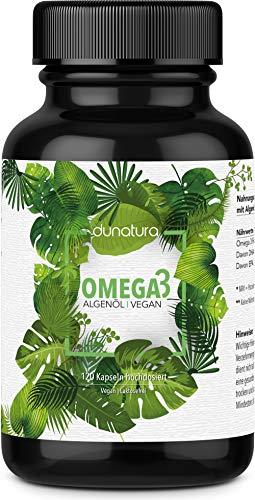 dunatura Omega 3 Kapseln vegan - 120 Kapseln hochdosiert aus Algenöl laborgeprüft aus Deutschland