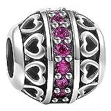 SOUFEEL - Charm in argento Sterling 925, pietra della nascita, motivo: cuore, adatto ai braccialetti di tipo europeo, con perline di vetro, 925, colore: Luglio, cod. XS1153G