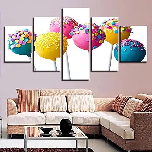 Carteles de decoración de sala de estar modulares Inicio 5 piezas Niños Lollipop colorido Imágenes Impresiones Arte de la pared Lienzo Pintura moderna-40x60-40x80-40x100cm