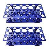 Test Tube Rack, Centrifuge Tube Holder (2 Pack - Blue) for 10ml, 15ml, 50ml, Detachable Plastic Stand, 28 Well