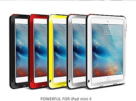 Fen pour Apple iPad Mini 4Coque étanche à la poussière du Corps Solide en métal Dur Couleur (Noir, Jaune, Rouge, Argent, Blanc), Rouge