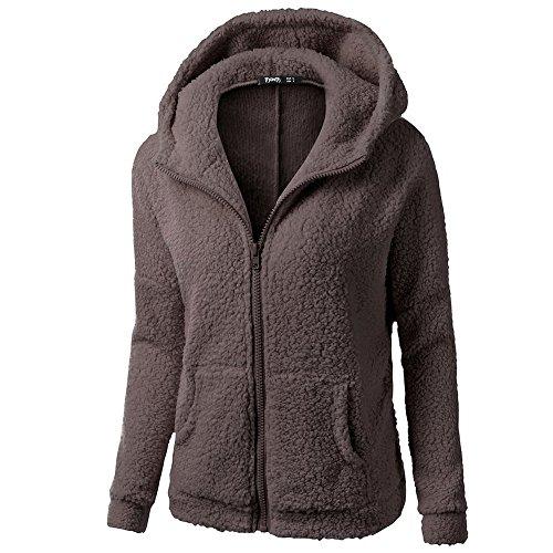 iHENGH Damen Winter Jacke Dicker Warm Bequem Slim Parka Mantel Lässig Mode Frauen Mit Kapuze Pullover Wolle Reißverschluss Baumwollmantel Outwear(Kaffee, XL)