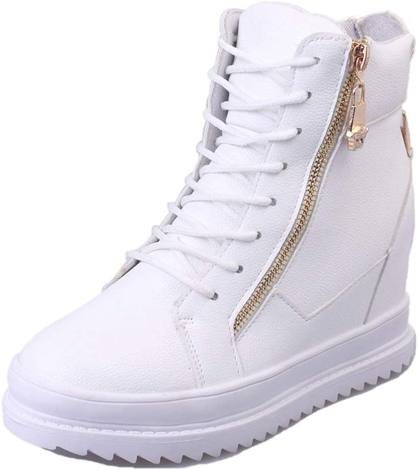 Hoxekle Women Sneaker White High Top Canvas shoes Wedge Platform Sneakers Women Casual shoes Winter Warm Cotton Padded