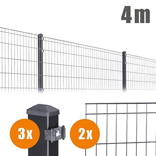4 m Komplett Set Anthrazit Michl Höhe: 1005 mm Doppelstabmatten + Zubehör