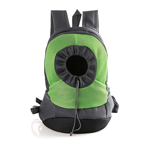 RC GearPro Mochila portátil para Mascotas, diseño de Cabeza hacia afuera, Ajustable, para Gato, Perro, Viaje, Bolso de Hombro Delantero, fácil de Ajustar para Viajar, Caminar, Acampar (L, Verde)