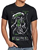 style3 Xenomorph Alien Herren T-Shirt Ripley Kino Prometheus Nostromo, Größe:L, Farbe:Schwarz