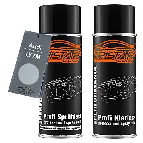 TRISTARcolor Autolack Spraydosen Set für Audi LY7M Alusilver Metallic/Alusilber Metallic Basislack Klarlack Sprühdose 400ml