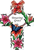 Joan Baker Designs Butterflies & Lilies Amazing Grace Cross Stained Glass Suncatcher (SX2004R)