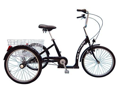B+M Fitness Dreirad für Erwachsene mit Rücktritt - 24 Zoll 7-Gang schwarz - inkl. Korb und Fahrradbeleuchtung