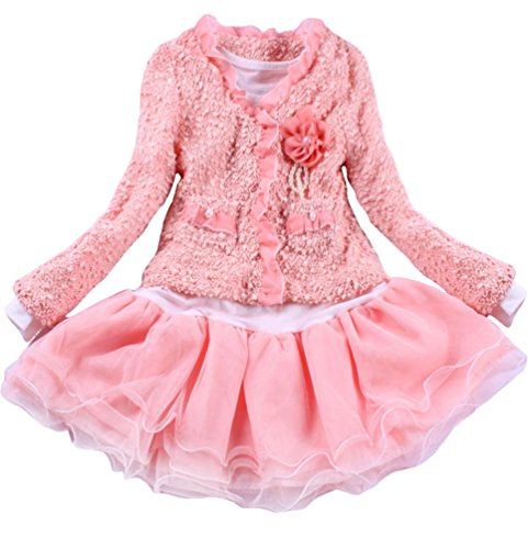 Baby Girls 2 Piece Cardigan Kids Flower Tutu Dress Skirt Outfit Clothing 2T/1-2 Years Pink