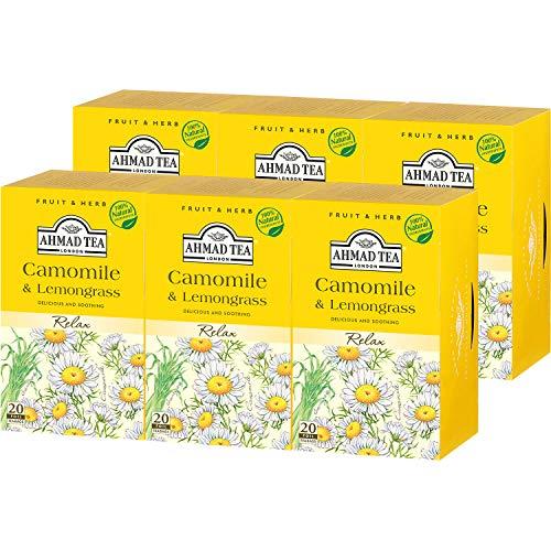 AHMAD TEA ( アーマッドティー ) カモミール & レモングラス ティーバッグ 20袋 ×6個 [ ハーブティー ノンカフェイン 個包装 ]