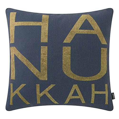 TRENDIN Hanukkah Pillow Cover 18x18 inch Square Throw Pillowcase Hanukkah Decorations for Home Chair Office Linen Cushion Cover for Sofa Couch PL744TR