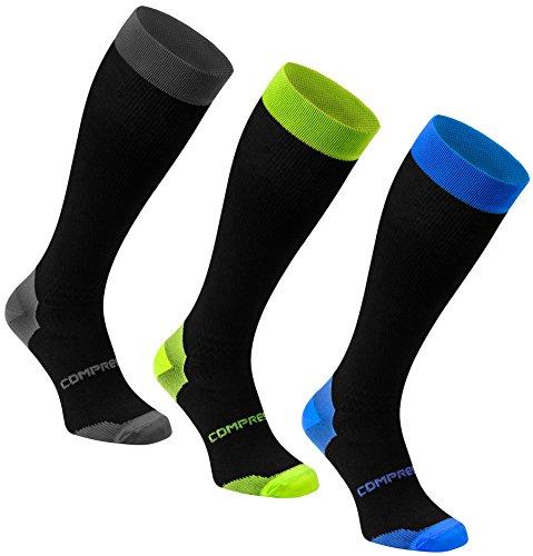 Freenord Compression Funktionssocken Kompressionsstrümpf 1 PAK oder 3 PAK Radsport Running Fitness (3 PAK grau/blau/Lime, 43-46)