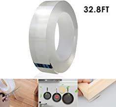 Womdee Traceless Washable Adhesive Tape, Removable Reusable Adhesive Silicone Tape Heavy Duty Double Sided Tape Clear Anti Slip Gel Nano Tape for Home, Wall, Paste Photos Fix Carpet(10M/32.8FT)