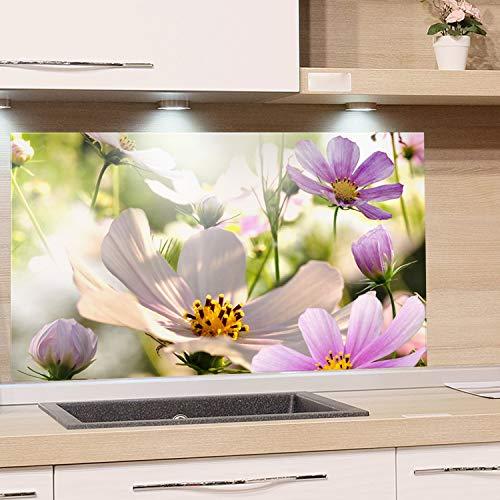 GRAZDesign Spritzschutz Küche Pflanzen Blumen - Küchenrückwand Glas Grün Lila Natur - Glasbild als Kunstdruck - Glasplatte / 80x60cm