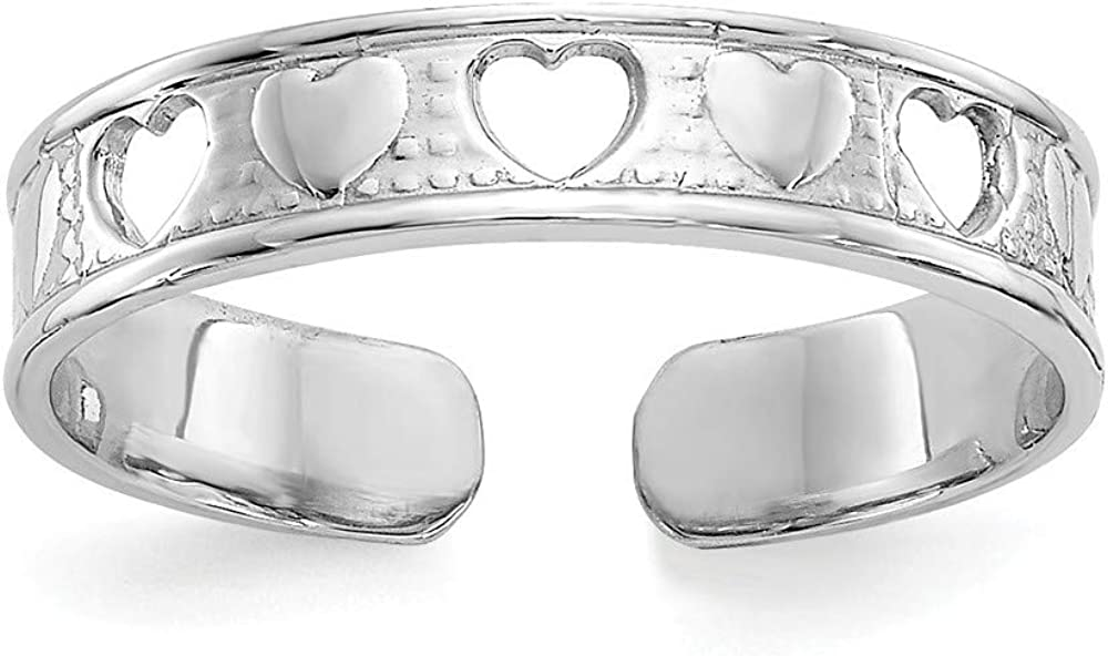 14k White Gold Polished With Love Gifts Hearts Jewelry Oakland Mall Toe New arrival Ring