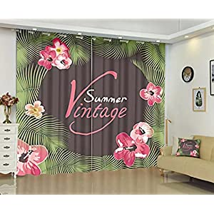 Silk Factory Plam Tree Blackout Curtains for Bedroom Vintage Summer Flower Pink Green & Drapes Curtain Door Closet Set of 2 Panels Set Holiday Windows 108 X 84 Inch Length