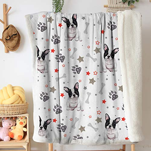 Toptree Fleece Blanket Throw Super Soft Plush Luxury Sherpa Throw Lightweight French Bulldog Blanket for Sofa Couch Bed (Grey Red Black and White, Throw 50' x 60')